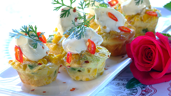 Mini Frittatas with Corn, Cream Cheese and Chives