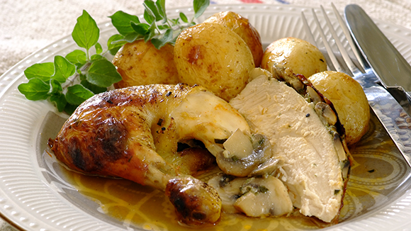 Mushroom and Onion Stuffed Roast Chicken