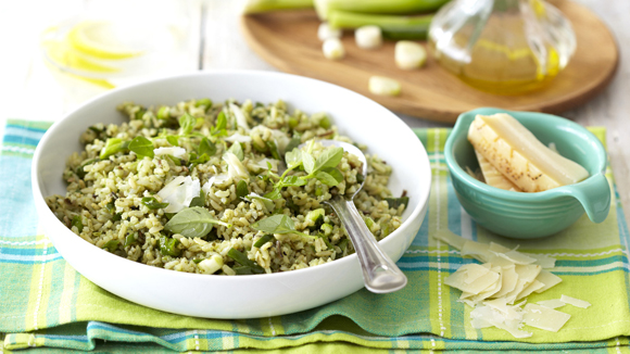 Pesto Rice Salad with Spring Onions and Parmesan
