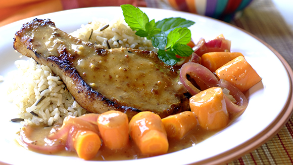 Pan-fried Pork Chops in a Mustard-Orange Sauce
