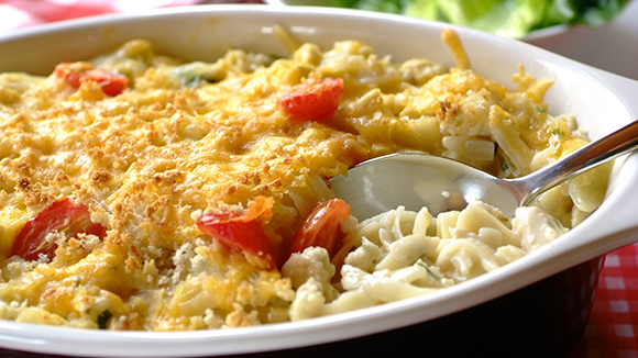 Pasta Bake with Chicken, Cheese and Chives