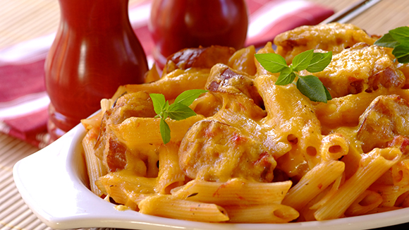 Pasta Bake with Pork Sausages and Tomato
