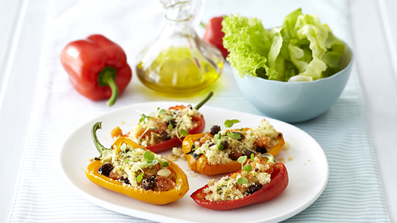 Peppers Stuffed with Nutty Apricot Couscous