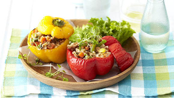 Peppers Stuffed with Rice, Vegetables and Cheese