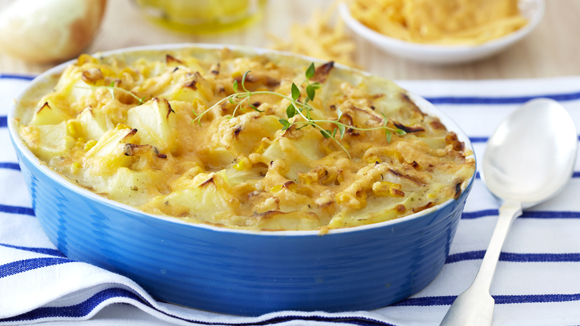 Potato Bake with Corn, Cheese and Garlic