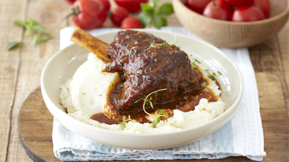 Roast Lamb Shanks in a Tomato, Wine and Herb Sauce