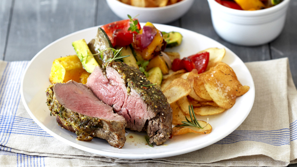 Roast Beef Fillet with Herbed Potato Crisps