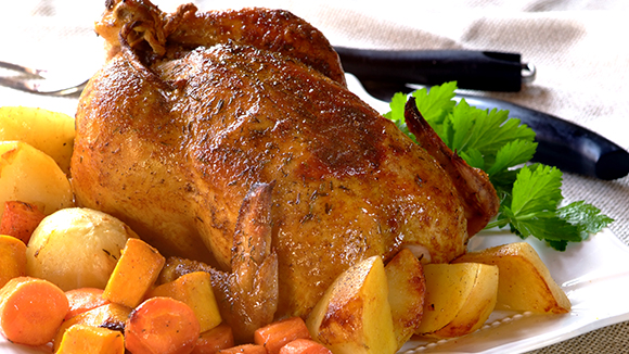Roast Chicken with Bacon, Herb and Nut Stuffing