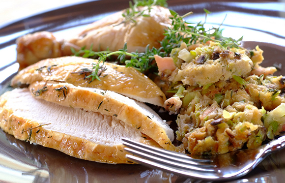 Roast Chicken with Baked Bacon and Sage Stuffing