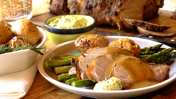 Roast Lamb With Mint Aioli