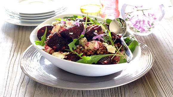 Roasted Beetroot, Lentil and Feta Salad