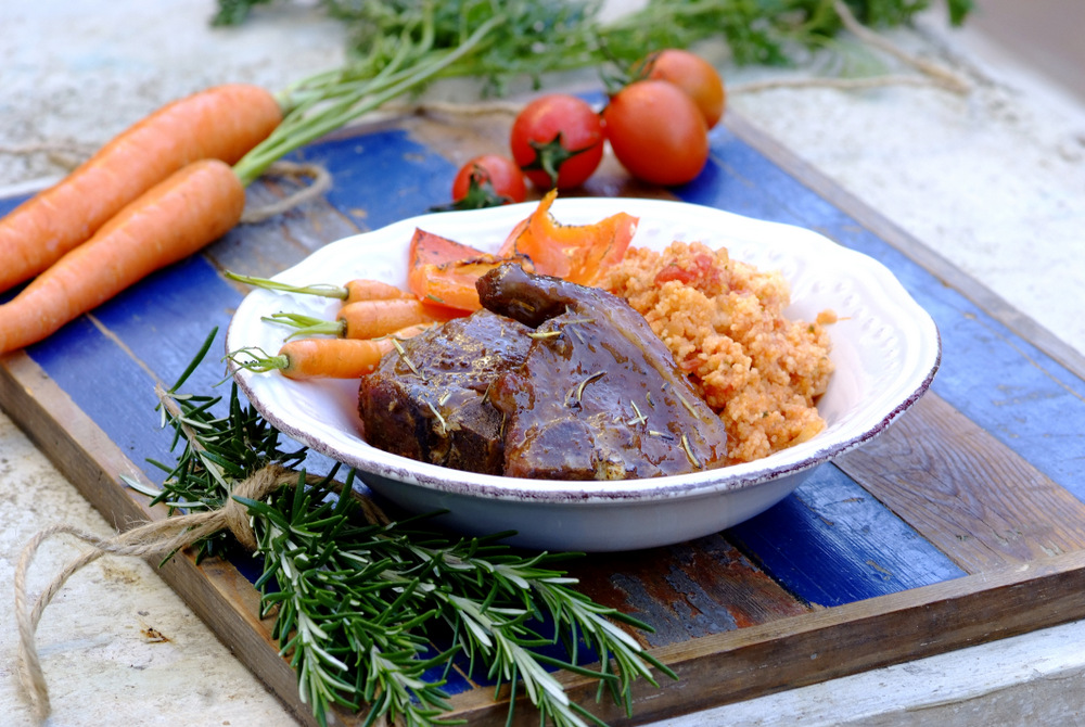 Roasted Lamb Chops with Tomato and Basil Couscous