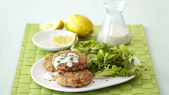 Sesame Crab Cakes with a Lemon Butter Sauce