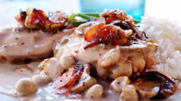 Smoky Chicken, Mushroom and Bacon Casserole