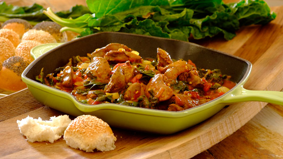 Spicy chicken livers and spinach