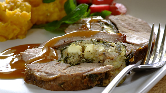 Spinach and Feta Stuffed Leg of Lamb