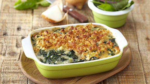 Spinach with a Cheesy Breadcrumb Topping