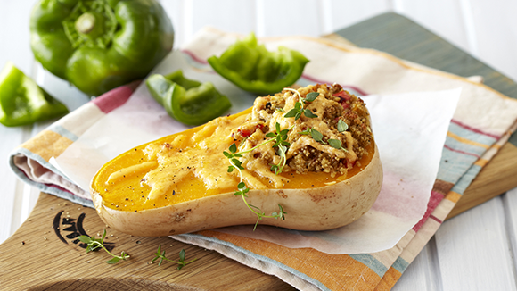 Stuffed Baked Butternut with Cheesy Rice and Peppers