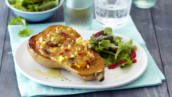 Stuffed Baked Butternut with Mushrooms and Feta
