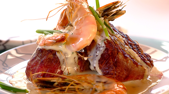 Surf and Turf with Fillet and Prawns