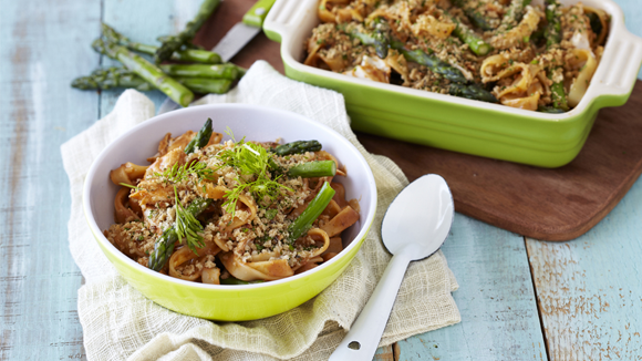 Tagliatelle Bake with Chicken and Asparagus