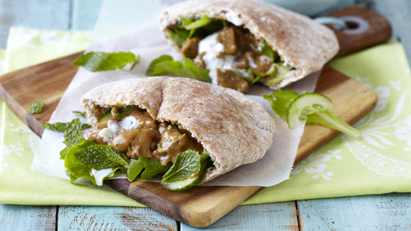 Tandoori Lamb Pitas with Minted Yoghurt