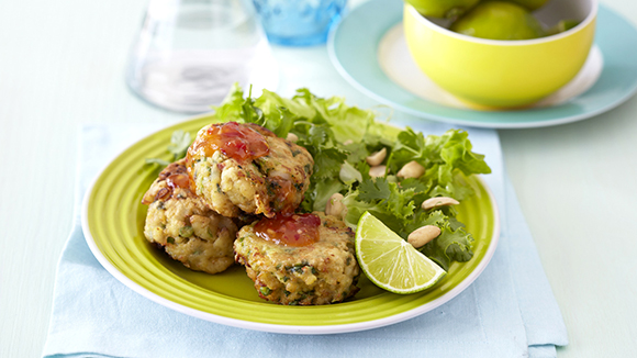 Thai Fish Cakes with a Herb and Peanut Salad