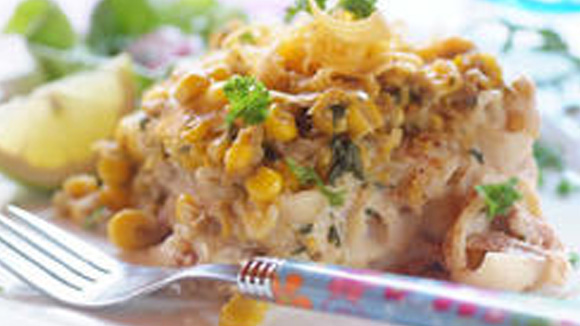 Tuna Bake With a Corn Topping