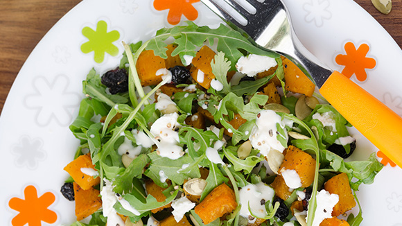 Warm Butternut and Feta Salad With Blue Cheese Dressing
