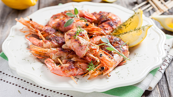Prawn and Bacon Sweet Chilli Kebabs
