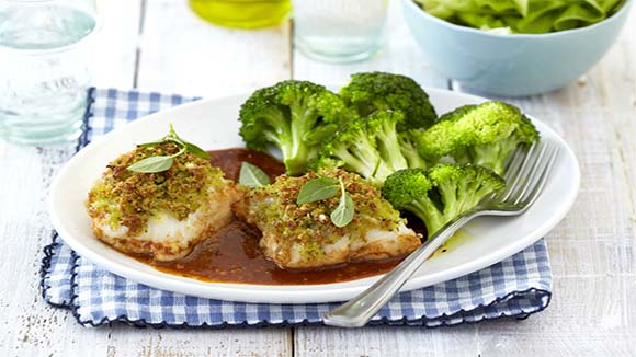 Baked Fish with Parmesan and  Basil Crumb Topping
