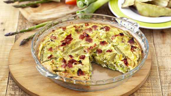 Leek and Asparagus Frittata with Sweet Potato Wedges