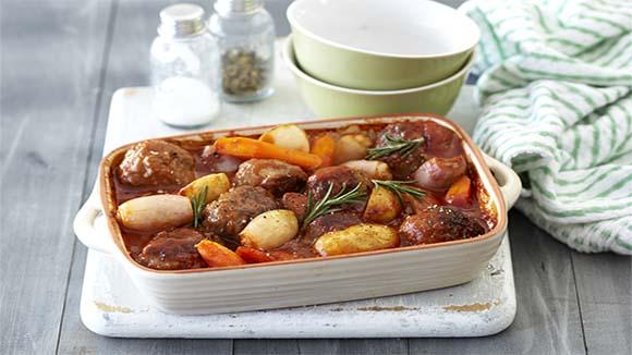 Meatball, Tomato and Potato Casserole