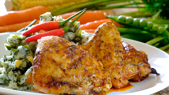 Peri-peri chicken with imfino pap