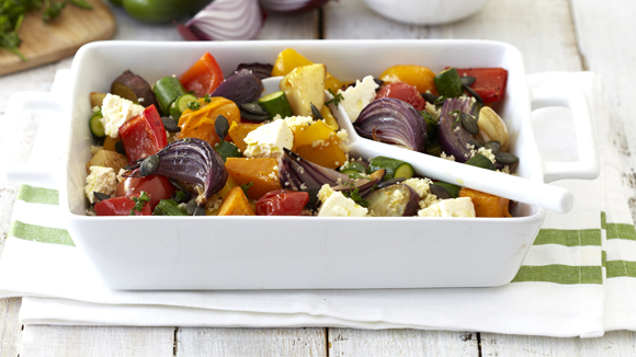 Roasted Vegetables with Couscous and Feta