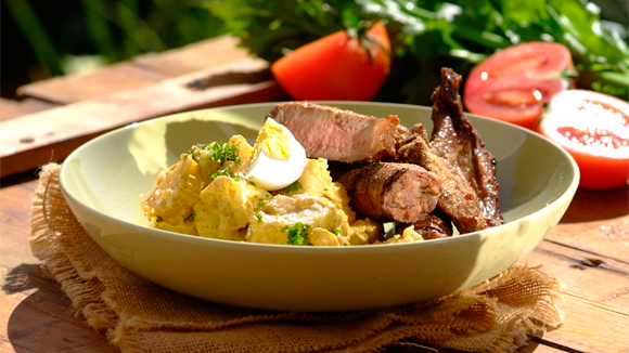 Shisa nyama with spicy potato salad