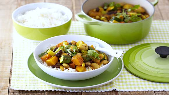 Vegetable and Bean Curry with Basmati Rice