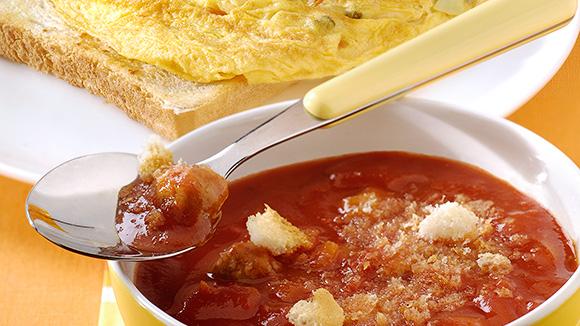 Julienne Tomates-Légumes aux boulettes et minis omelettes façon grand-mère