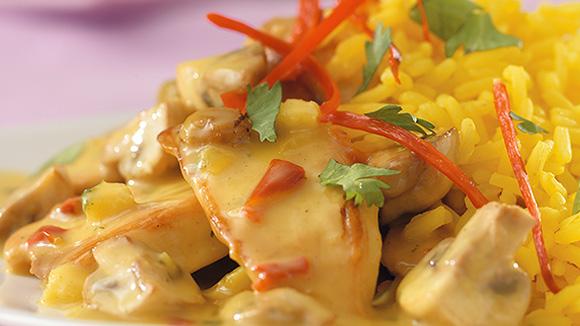 Poulet curry au noix de coco et coriandre