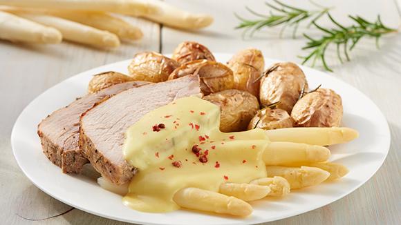 Jambon aux asperges et sauce hollandaise