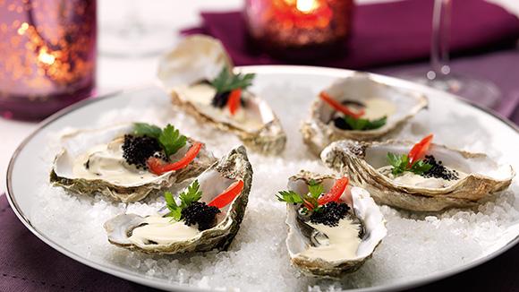 Huîtres chaudes à la sauce balsamique hollandaise
