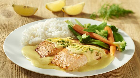 Pavé de saumon, sauce Beurre Blanc