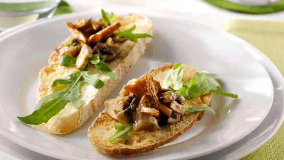 Tartines de champignons poêlés