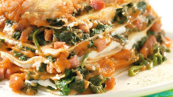 Lasagnes express aux épinards et au jambon