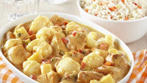 Kip curry met bloemkool, appel en paprika