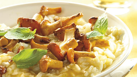 Risotto met champignons, kippenbouillon en basilicum
