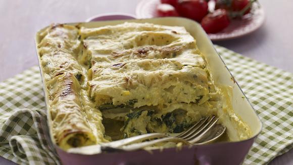 Cannelloni Carbonara met spinazie, ricotta en pompoen