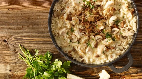 Risotto met kip en champignons