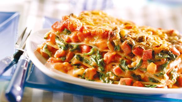 Lasagne met spinazie en salami