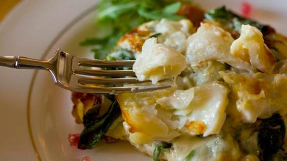 Receita Bacalhau Gratinado com Espinafres